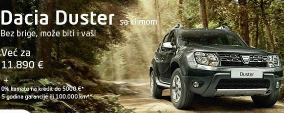 Dacia Duster sa 0% kamate na kredit do 5.000 evra