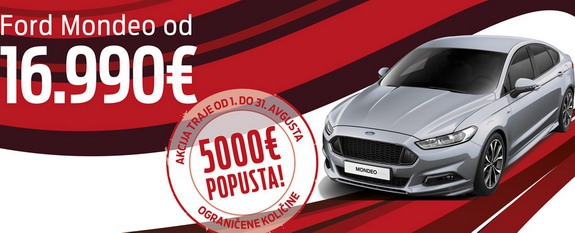 Ford Mondeo od 16.990, Kuga od 16.990 i Kuga TDCi od 18.990 evra